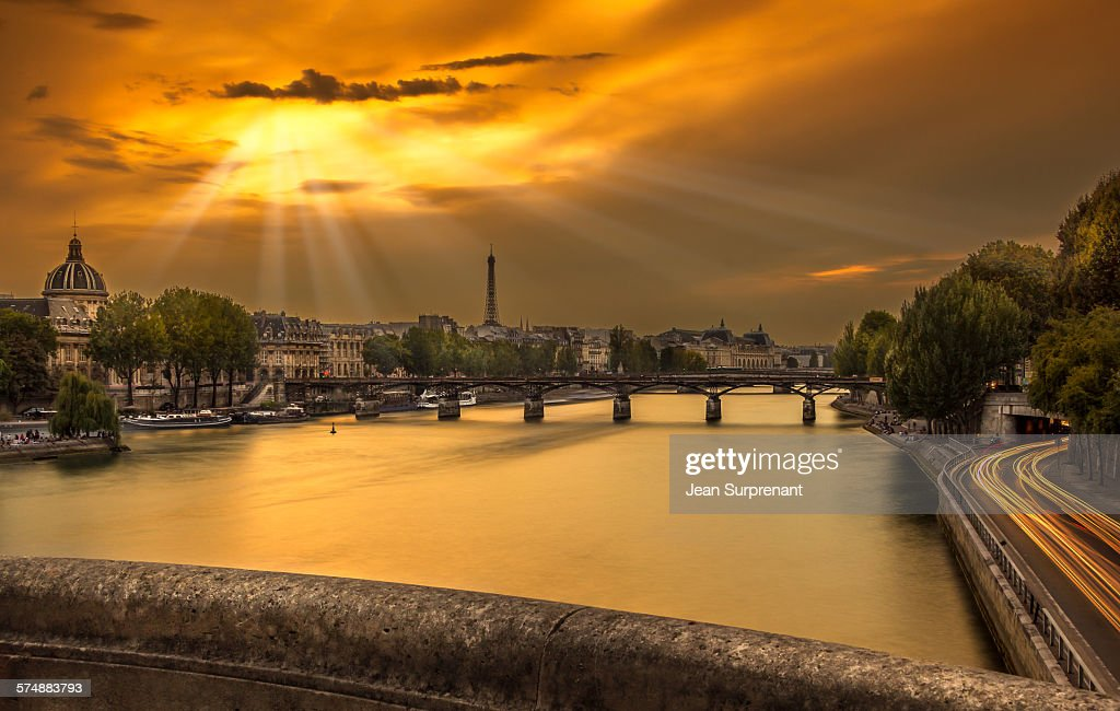 Pont des Arts sunset : Stock Photo