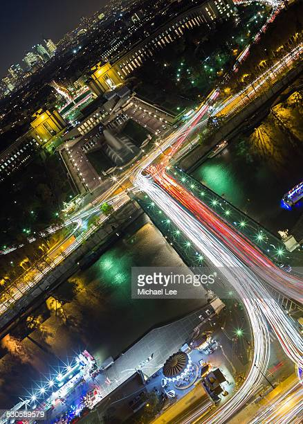 Pont d'Iena and Trocadero Aerial Night View