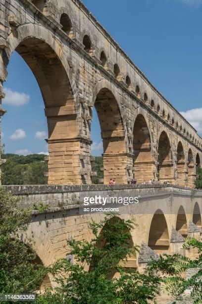 pont du gard in vers-pont-du-gard, france - gard stock photos and pictures