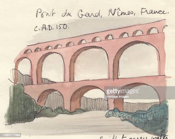 Pont du Gard Nimes France 1951 'Pont du Gard Nimes France c AD 150' The Roman aqueduct in the south of France over the River Gardon is the highest of...