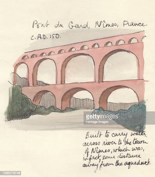 Pont du Gard Nimes France 1951 'Pont du Gard Nimes France c AD 150 built to carry water across river to the town of Nimes which was in fact some...