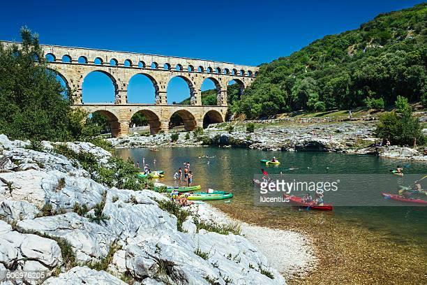 pont du gard, provence france - gard stock photos and pictures