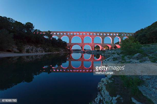 pont du gard, roman aqueduct, unesco world heritage site, river gard, languedoc-roussillon, southern france, france, europe - gard stock photos and pictures