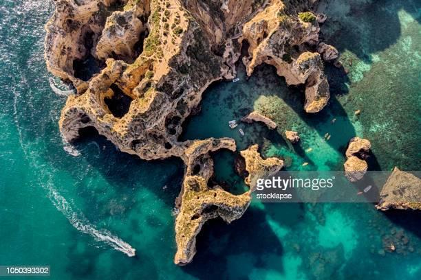 ponta da piedade cliffs  aerial view in algarve, portugal - faro stock pictures, royalty-free photos & images