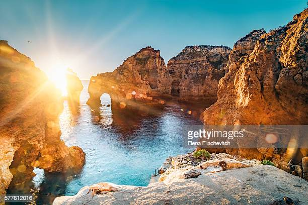 ponta da piedade,algarve,portugal - algarve stock photos and pictures