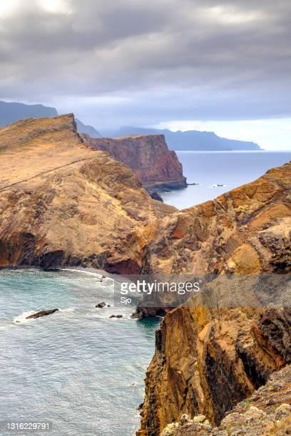 "ponta de são lourenço peninsula landscape at madeira island during an overcast summer day - ""sjoerd van der wal"" or ""sjo"" stock pictures, royalty-free photos & images"