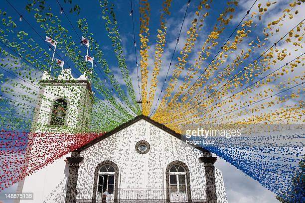 Ponta Delgada church with festival decoration.