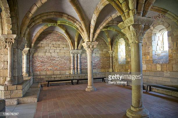 pontaut chapter house, limestone, brick and plaster, originally from southern france, 12th century, now part of the cloisters, part of the metropolitan museum of art, ft. tryon park, upper manhattan, new york, ny - cloister stock pictures, royalty-free photos & images