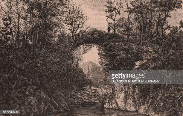 Ponte di Annibale also called the Devil's Bridge Biella Piedmont Italy woodcut from Le cento citta d'Italia illustrated monthly supplement of Il...