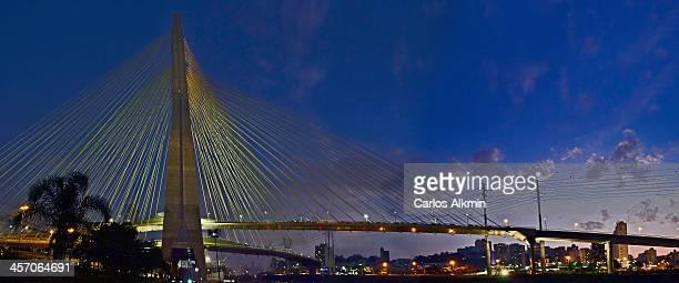 Ponte Octavio Frias de Oliveira at dusk - Sao Paul