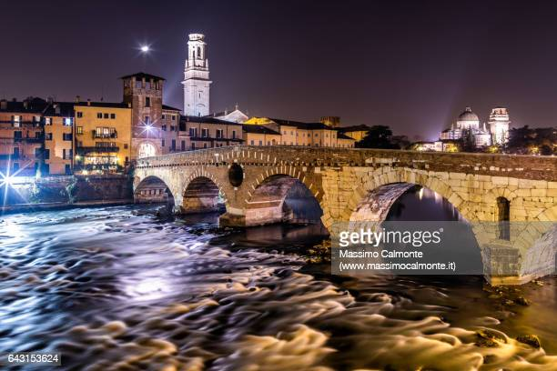 Ponte Pietra over Adige river in Verona city center