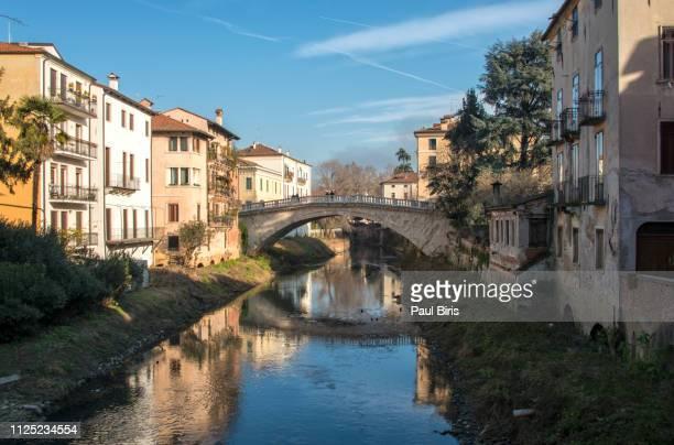 Ponte San Michele in Vicenza and river Retrone, Veneto Italy