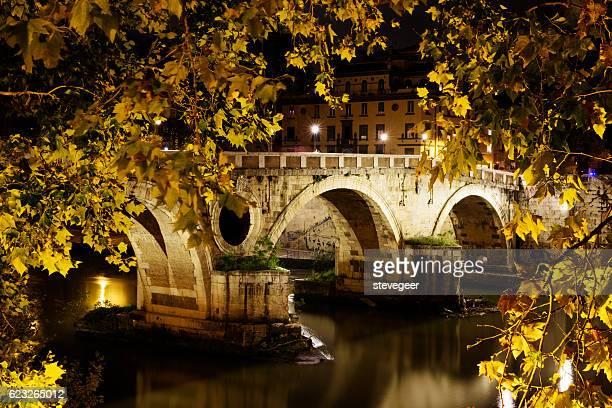 Ponte Sisto across River Tiber at night, Rome