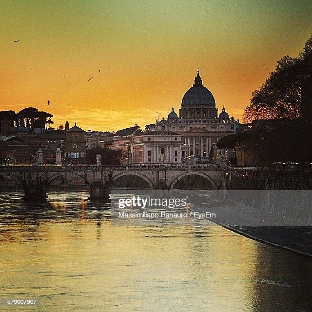 Ponte Umberto I Over River Against Sky During Sunset : Stock Photo