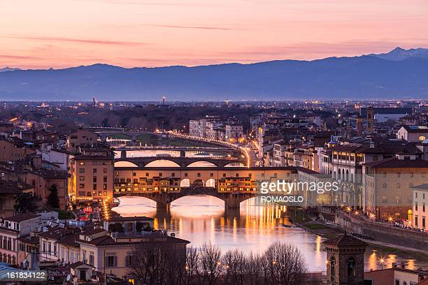 ponte vecchio seen from piazzale michelangelo, florence italy - ponte vecchio stock photos and pictures