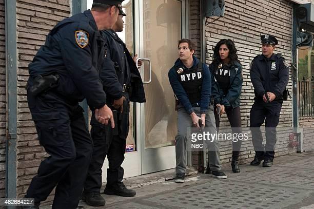 NINE 'Pontiac Bandit' Episode 113 Pictured Andy Samberg as Jake Peralta Stephanie Beatriz as Rosa Diaz
