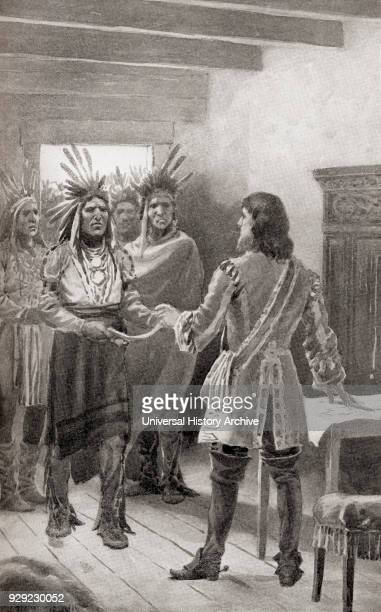 Pontiac delivering the wampum belt to Sir William Johnson at Fort Oswego as a sign of peace and the end of Pontiac's War 1766 Pontiac or Obwandiyag c...