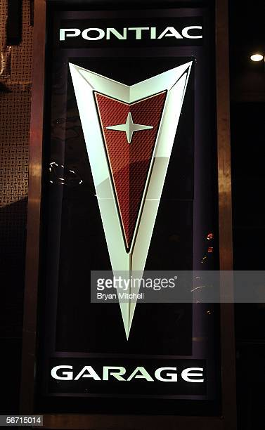 Pontiac logo is seen in the green room during the 'Jimmy Kimmel Live' Show at the Gem Theatre on January 31 2006 in Detroit Michigan