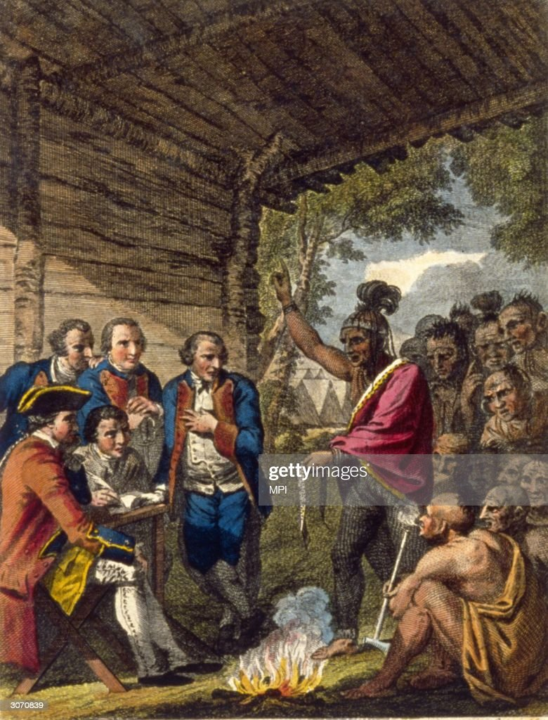 """Le tabac """"PONTIAC"""" Pontiacan-ottawa-indian-confronts-colonel-henry-bouquet-who-his-to-picture-id3070839"""