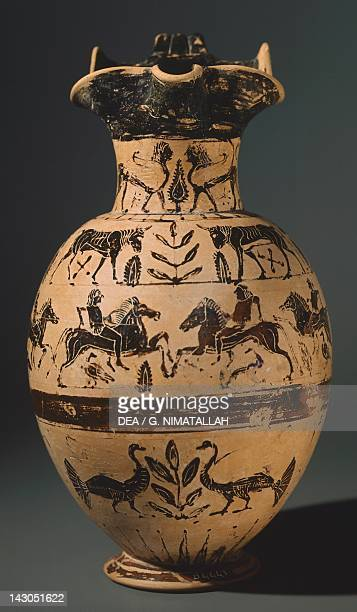 Pontic Oinochoe by the Anfiarao Painter Blackfigure pottery from Vulci Etruscan Civilisation 6th Century BC Rome Museo Nazionale Etrusco Di Villa...