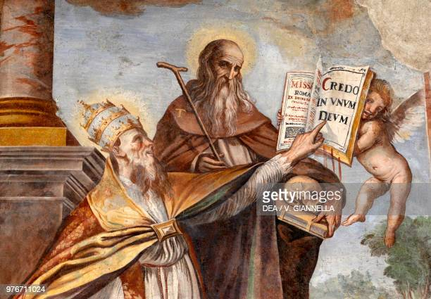 Pontifex and Saint 16521653 fresco by Francesco Nasini in the chapel of the Most Holy Saviour church of the abbey of San Salvatore Abbadia San...