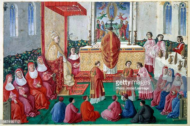 Pontifical Mass Pope Sixtus IV in the Sistine Chapel in the Vatican Italian School Miniature on a cutting 15th century 01 x 016 m Conde Museum...