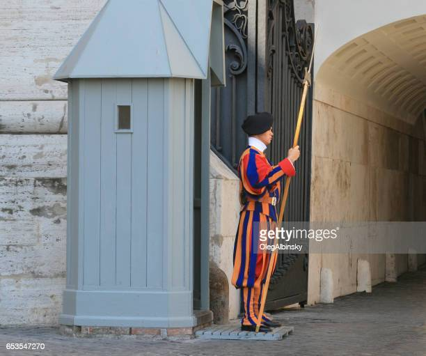 pontifical swiss guard with halberd, vatican city, rome, italy. - halberd stock pictures, royalty-free photos & images