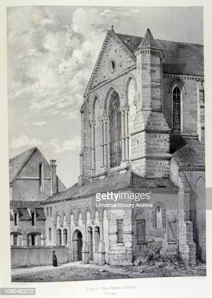 Pontigny Abbey church; The Cathedral-Abbey of the Assumption in Pontigny , a Cistercian monastery located in Pontigny on the River Serein, in the...