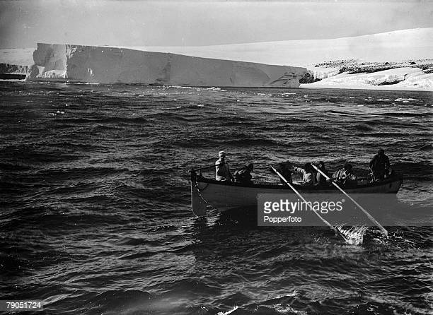 HG Ponting Captain Scotts Antarctic Expedition 1910 1912 20th January A rowing boat coming off from the Terra Nova ship after it had run aground at a...