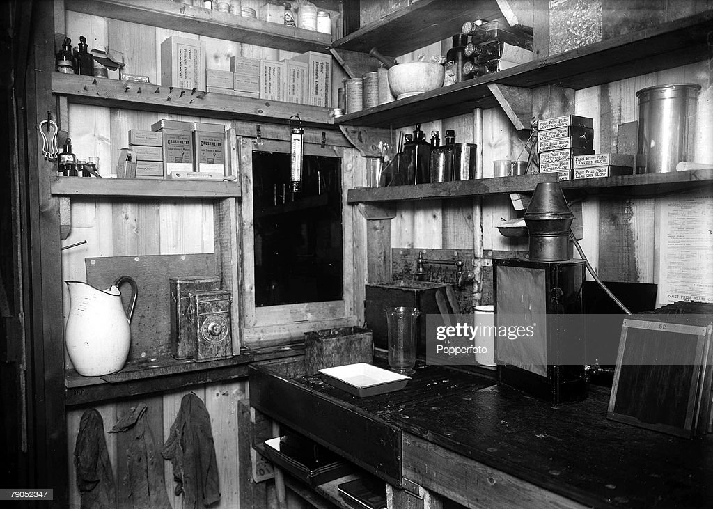 H.G Ponting. Captain Scott+s Antarctic Expedition 1910 - 1912. 24th March, 1911. An interior view showing the sink in the darkroom of photographer Herbert Ponting. : News Photo