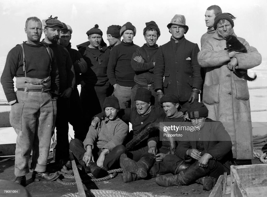 H.G Ponting. Captain Scott+s Antarctic Expedition 1910 - 1912. 28th December, 1910. A group of the crew members pose for a group photograph on board the 'Terra Nova' ship. : News Photo