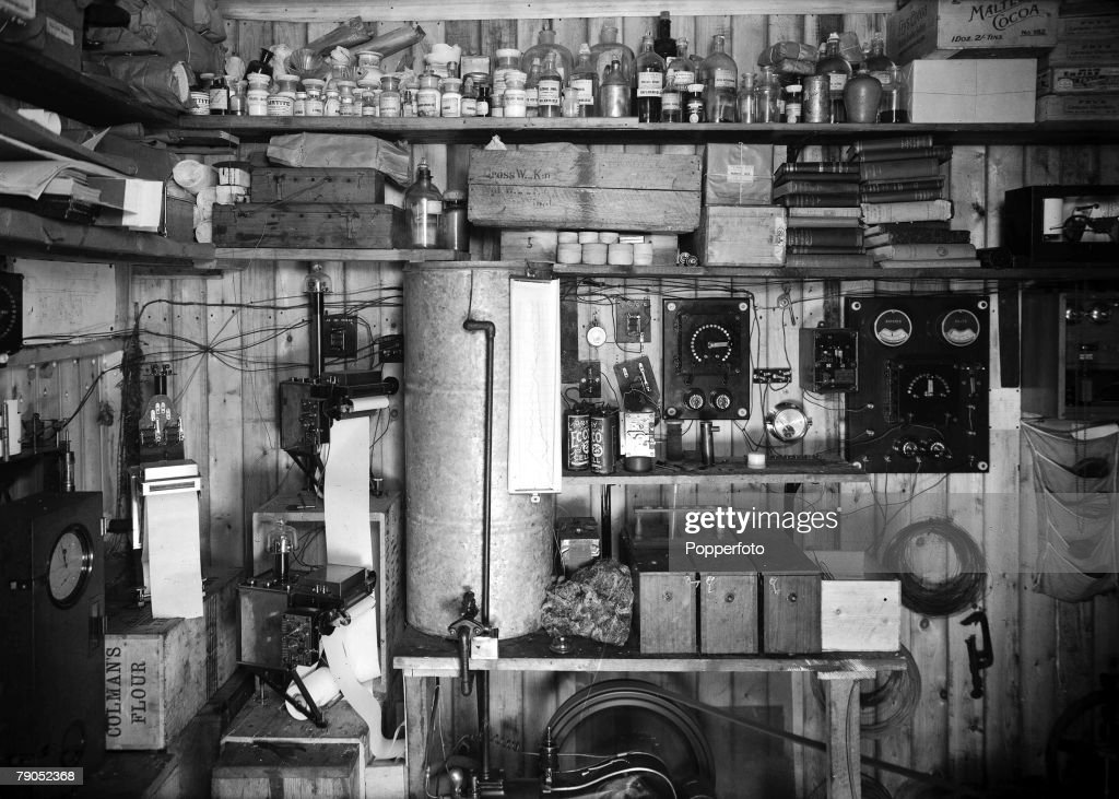 H.G Ponting. Captain Scott+s Antarctic Expedition 1910 - 1912. 31st March, 1911. An interior view of Simpson's laboratory in a wooden hut. : News Photo