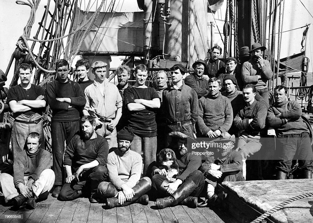 H.G Ponting. Captain Scott+s Antarctic Expedition 1910 - 1912. A group of officers pose for a photograph on the deck of the Terra Nova. : News Photo