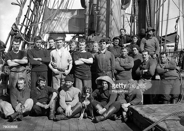 HG Ponting Captain Scotts Antarctic Expedition 1910 1912 A group of officers pose for a photograph on the deck of the Terra Nova