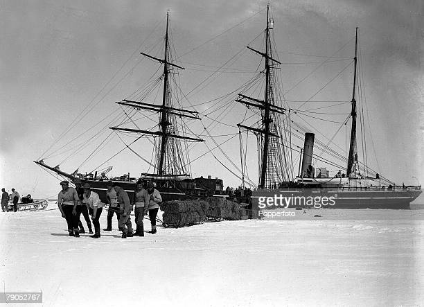 HG Ponting Captain Scotts Antarctic Expedition 1910 1912 January Officers hauling sledges of fodder from the Terra Nova to Cape Evans
