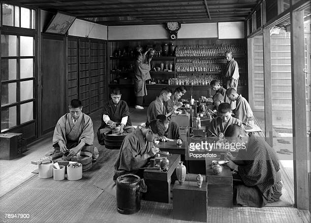 HG Ponting in Asia 1900 1906 Japan Japanese Cloisonne artists at work finishing designs on decorative ornaments