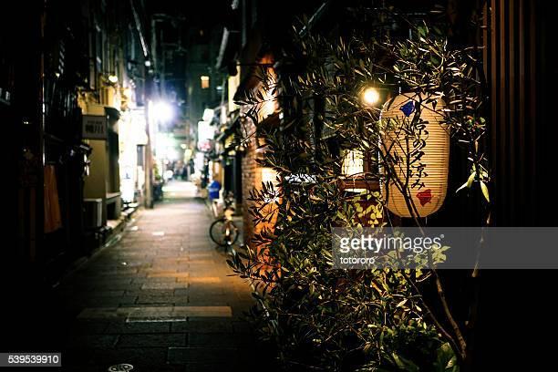 ponto-cho street (先斗町) at night in kyoto (京都) japan - fluss kamo stock-fotos und bilder