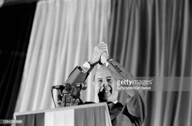 Pontoise France 1er avril 1981 Election présidentielle des 26 avril et 10 mai 1981 Meeting électoral de Valéry GISCARD D'ESTAING président sortant...