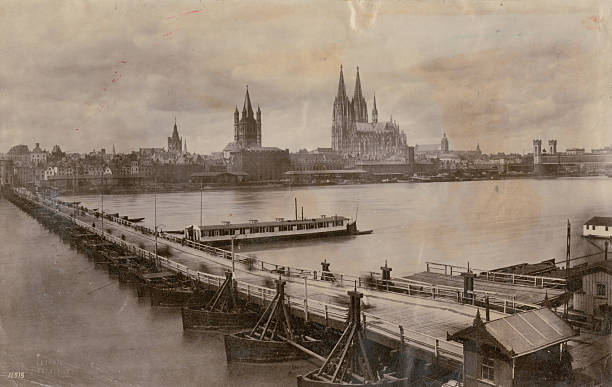 A pontoon bridge across the River Rhine in Cologne,...