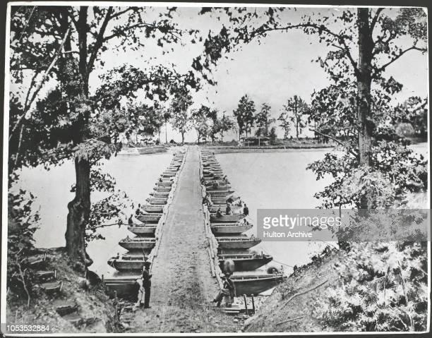 Pontoon bridge at Deep Bottom on the James River 1864