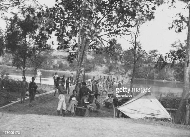 Pontoon bridge Deep Bottom James River Virginia 1863