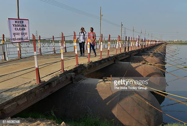 Pontoon bridge over Yamuna near the site of the World Culture Festival 2016 along the Yamuna flood plains in New Delhi