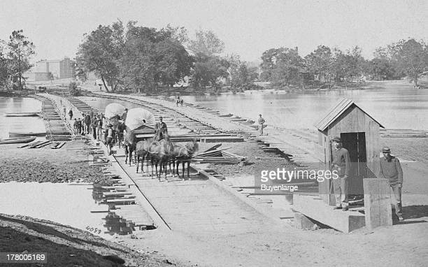 Pontoon bridges across James River Richmond Virginia 1865