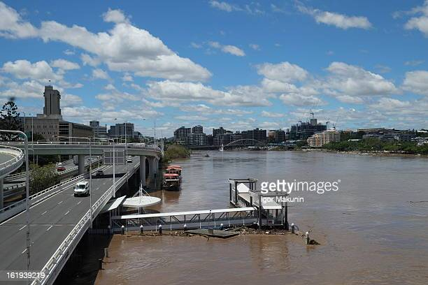 Pontoon stuck at the North Quay Citycat terminal in Brisbane CBD. Photo was taken from the Victoria bridge. Two days after the ex-cyclone Oswald that...