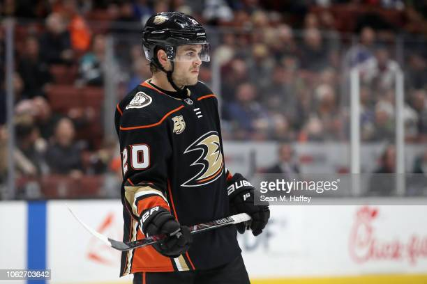 Pontus Aberg of the Anaheim Ducks looks on during the third period of a game against the Toronto Maple Leafs at Honda Center on November 16 2018 in...
