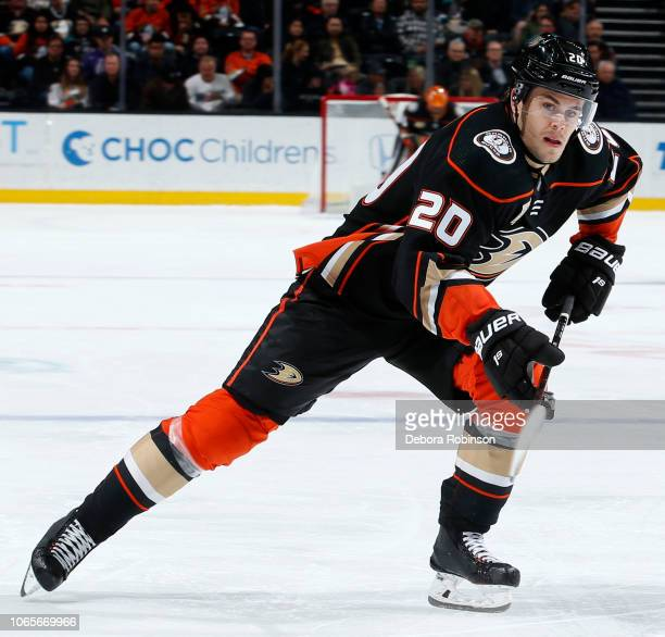 Pontus Aberg of the Anaheim Ducks skates during the game against the Calgary Flames on November 7 2018 at Honda Center in Anaheim California