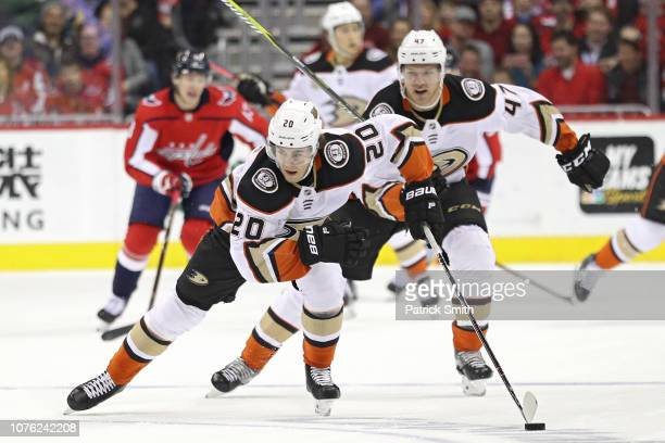 Pontus Aberg of the Anaheim Ducks skates with the puck against the Washington Capitals during the first period at Capital One Arena on December 02...