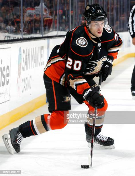 Pontus Aberg of the Anaheim Ducks skates with the puck during the game against the Calgary Flames on November 7 2018 at Honda Center in Anaheim...