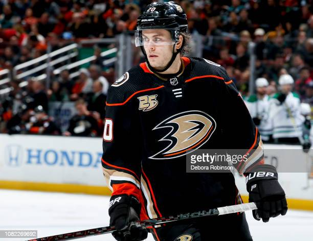 Pontus Aberg of the Anaheim Ducks waits for play to resume during the third period of the game against the Dallas Stars at Honda Center on December...