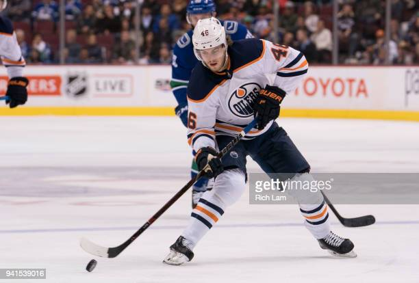 Pontus Aberg of the Edmonton Oilers skates with the puck in NHL action against the Vancouver Canucks on March 2018 at Rogers Arena in Vancouver...
